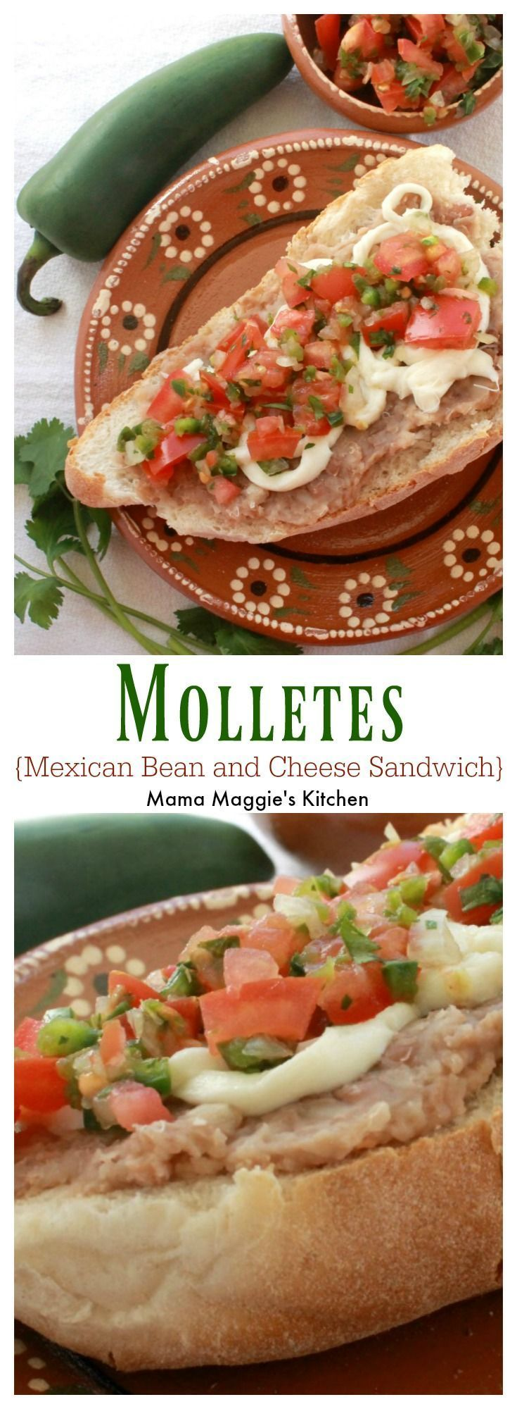 Molletes (or Open-Faced Mexican Sandwich) is a yummy breakfast idea or perfect as a quick afternoon snack. Mexican food doesn't come any easier than this! By Mama Maggie's Kitchen #molletes #mexicanfood #mexicanrecipes #mexican #recipes #easyrecipes #latinfood
