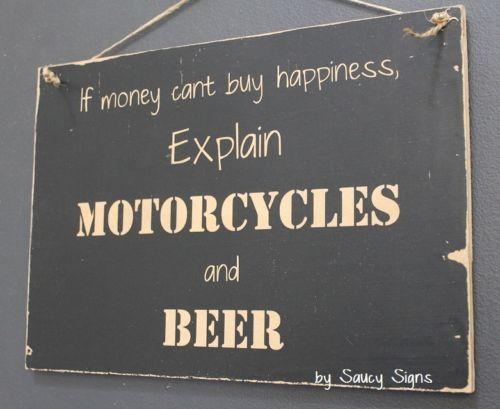 Motorcycles and Beer Sign – Biker Shed Bar Garage Man Cave Wooden BBQ Moto GPJomo Kwadi