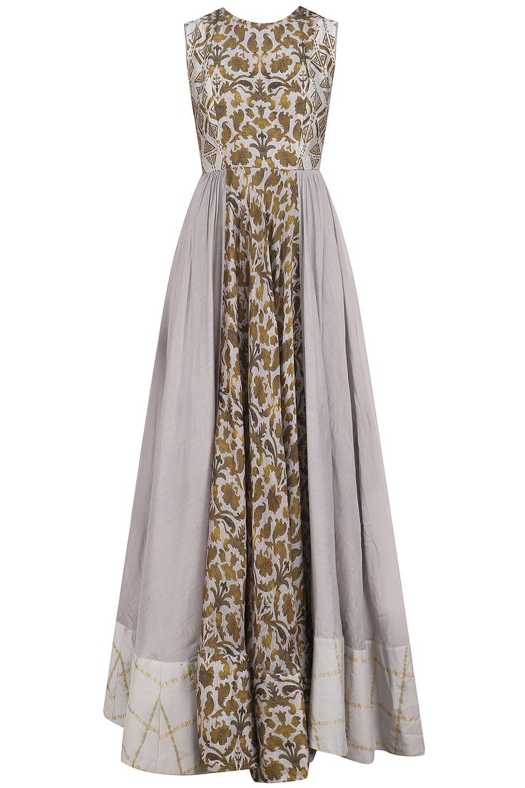 ANUSHREE - Lilac Floral pannel gathered maxi dress available only at Pernia's Pop Up Shop. #anushree #perniaqureshi #perniaspopupshop #happyshopping #shopnow #floral #maxidress #contemporary #western#indiandesigner
