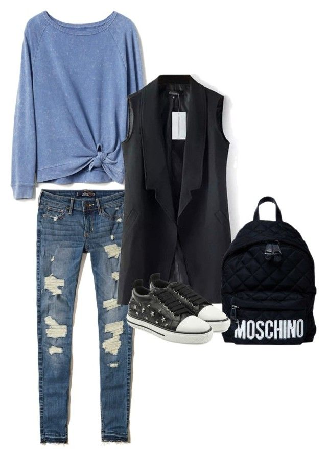 """""""denim gothic"""" by oripandora on Polyvore featuring Gap, Hollister Co., Moschino and RED Valentino"""
