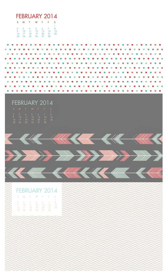 FREE printable february 2014 calendar - (also as wallpaper download)