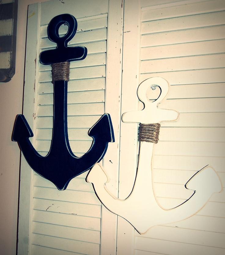 Shabby Chic 13-18 inch wooden anchor Nautical Home Decor. $22.00, via Etsy.