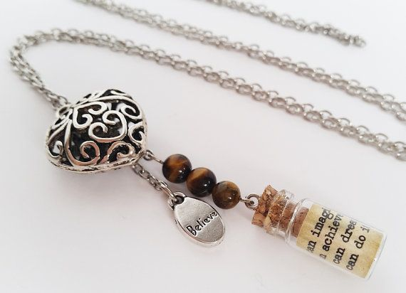 Silver charm necklace with message in a bottle. by totesBOHO