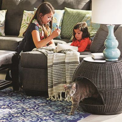 this end table and pet bed in one from wayfair canada gives your cat a cozy