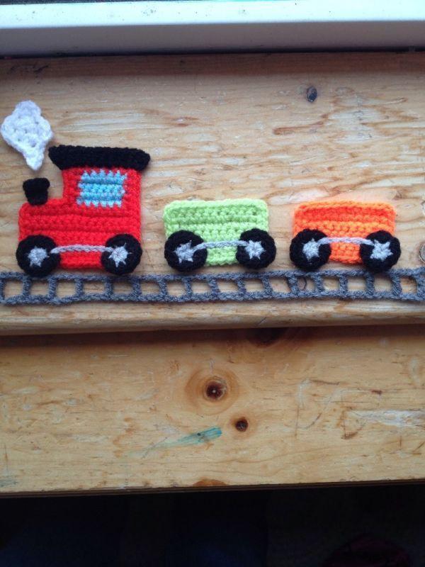 Hand Crochet Train Applique Motif Embellish
