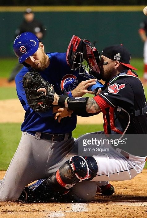 Ben Zobrist,CHC/Roberto Perez,CLE//Nov 1,2016 World Series Game 6 at CLE