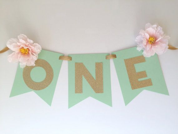 Display this bright, sparkly and shabby mint, pink and gold glitter high chair banner banner with dimensional spring flowers at your next