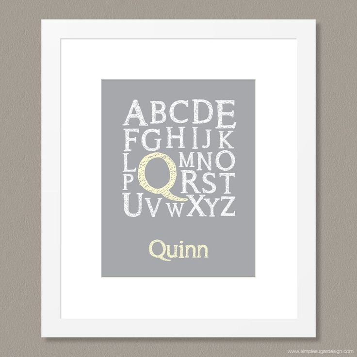Makes a great Christmas gift! Alphabet Print by Simple Sugar Design | Perfect finishing touch to any child's bedroom | Choose a colour! Personalize it! | From $35.00