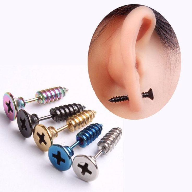 2 pcs Punk Style nail stud earrings for women men Stainless Steel fashion jewelry screw back