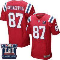 Men's New England Patriots #87 Rob Gronkowski Red Alternate Super Bowl LI Champions Nen Elite Jersey