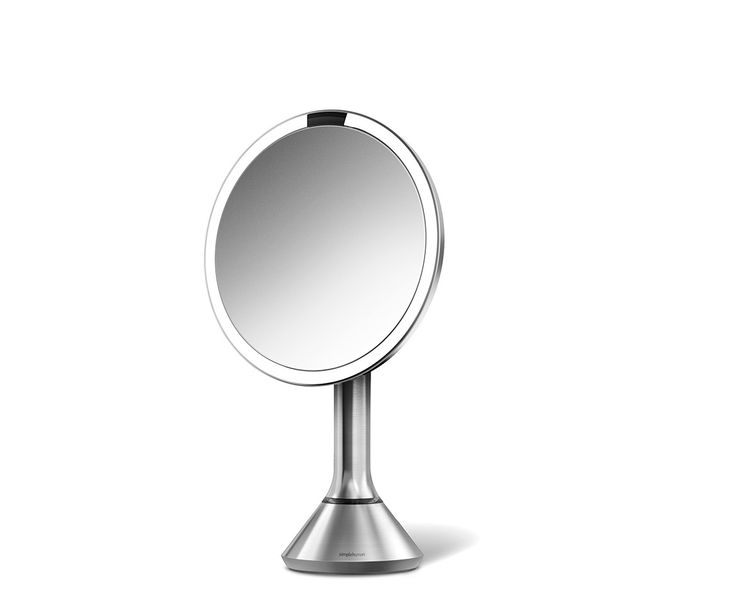 SimpleHuman 8-inch Sensor Lighted Makeup Vanity Mirror. Purchased mine in October and only had to re-charge it once since then. Truly the best makeup mirrors on the market. My most favorite is the smaller mirror with 10x magnification.