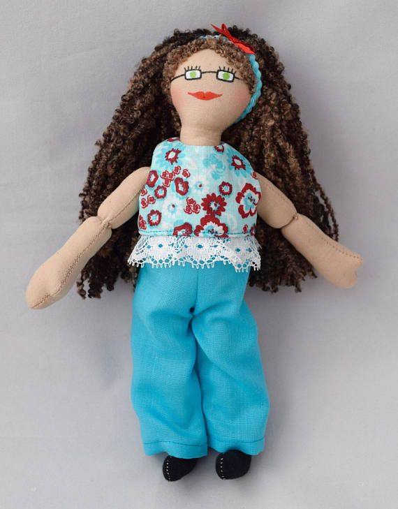 Doll With Brown Hair  Toy For Kids  Handmade Christmas Gift