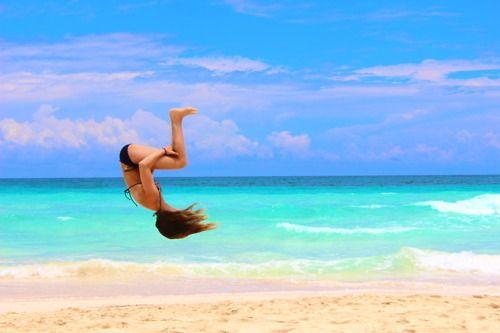 flips on the beach