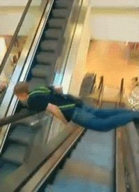 This unique way of traveling down the escalator. | 44 Ideas That Completely Backfired... FAIL!! You got what you had coming!