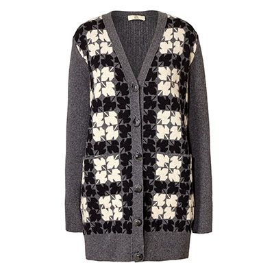 Orla Kiely | USA | Clothing | SALE - Knitwear | Leaf Check Jacquard Long Cardigan (16AKLCJ212) | Black & Grey