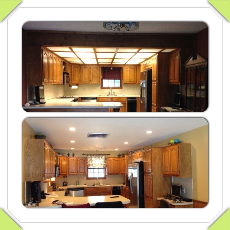 1980 39 s drop ceiling kitchen remodel before and after for Dropped ceiling kitchen ideas