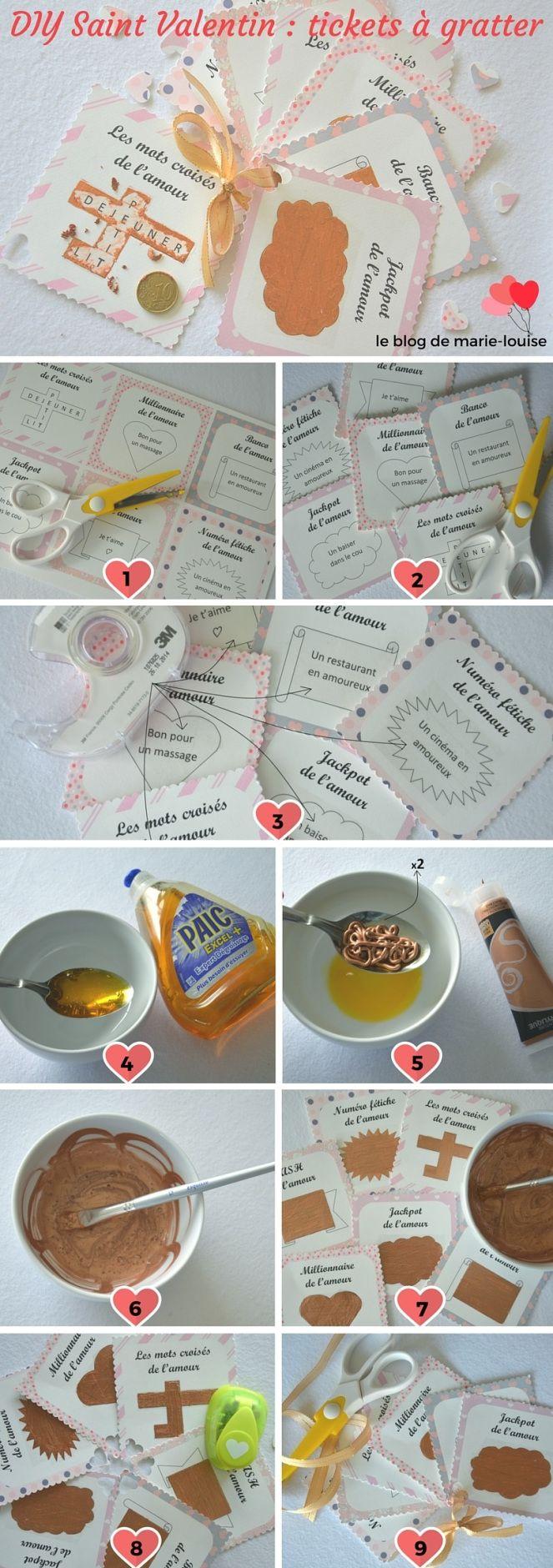 DIY Saint Valentin : bons de l'amour façon tickets à gratter