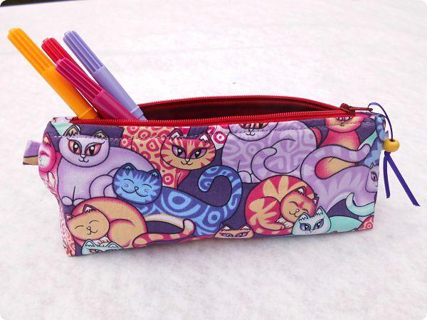 """Trousse chats - Pencil case """"Les sacs de gènie"""""""
