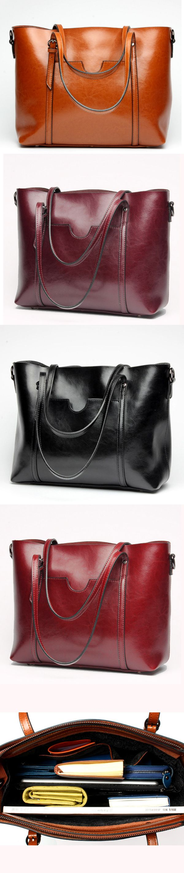 US$25.89  Women Oil Leather Tote Handbags Casual Front Pockets Crossbody Bags Shoulder Bags