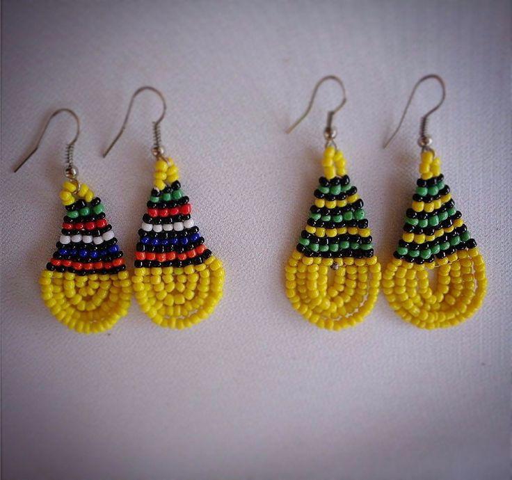 Yellow beaded African earrings