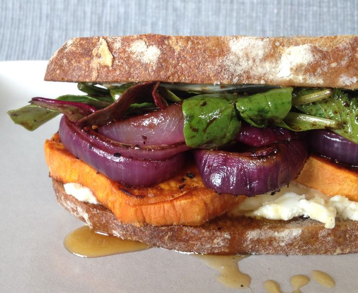 Roasted Sweet Potato Sandwich with Fresh Goat Cheese and Honey. # ...
