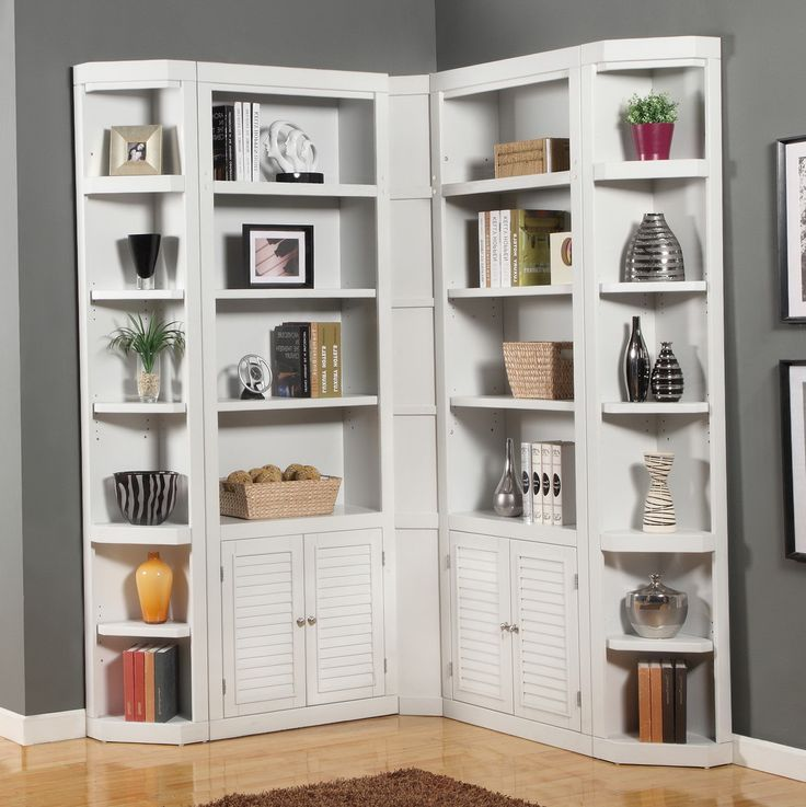 White Corner Bookcase with Doors - Best Bedroom Furniture Check more at http://fiveinchfloppy.com/white-corner-bookcase-with-doors/