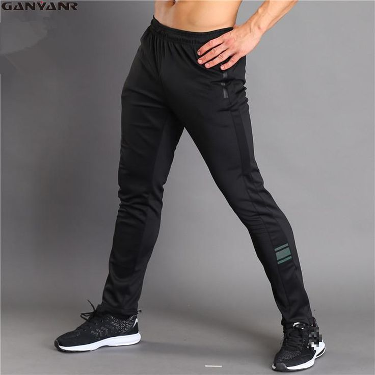 GANYANR Brand Running Pants Men Fitness Leggings Gym Jogging Sports Long Trousers Solid Polyester Harem Full Length Training