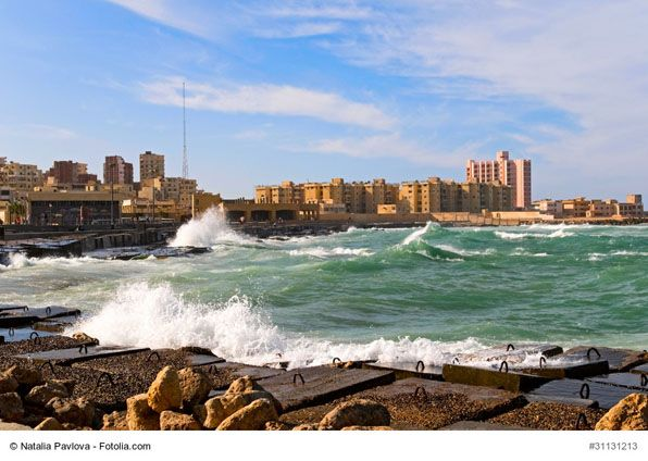 """The Typical Cityscape of Alexandria, Egypt - Alexandria is Egypt's port city on the Mediterranean Sea also known as """"The Pearl of the Mediterranean"""". It combines best of both, old and new, from ruins and monuments to wonderful beaches and modern art making it a great destination for every traveler."""
