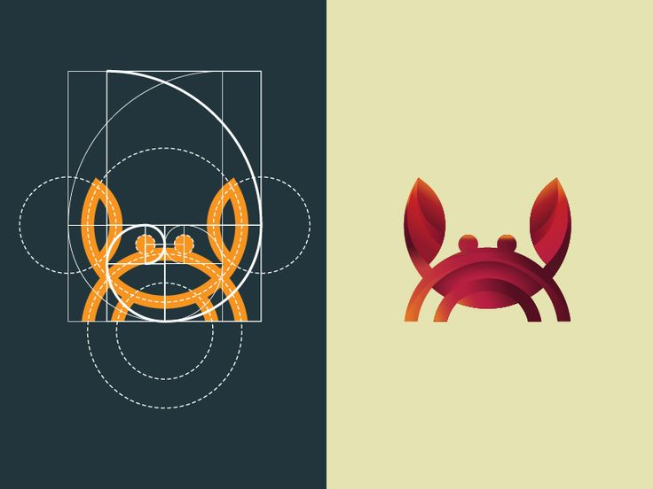 Crab logo using grid of golden ratio