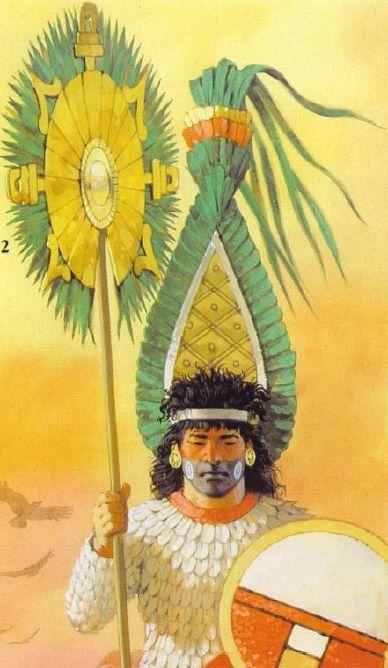 Aztec warrior with his quetzalteopantli, the symbol of the Aztec warriors