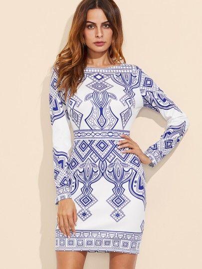 Bodycon Kleid 2019 mit Geo Druck in Blau und Weiß | Mode