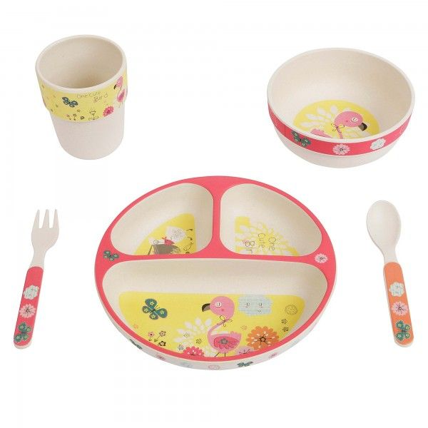 Cute Flamingo Kid S Round Bamboo Dinner Set 5 Piece Dinner Sets Bamboo Biodegradable Products