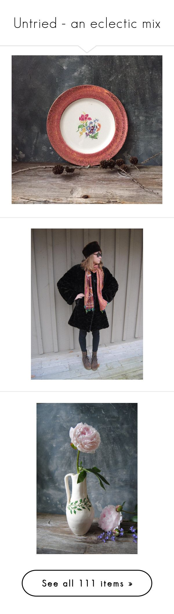 """""""Untried - an eclectic mix"""" by untried-shop ❤ liked on Polyvore featuring outerwear, coats, vintage faux fur coat, short fur coat, short coat, faux fur coat, vintage coats, home, kitchen & dining and serveware"""