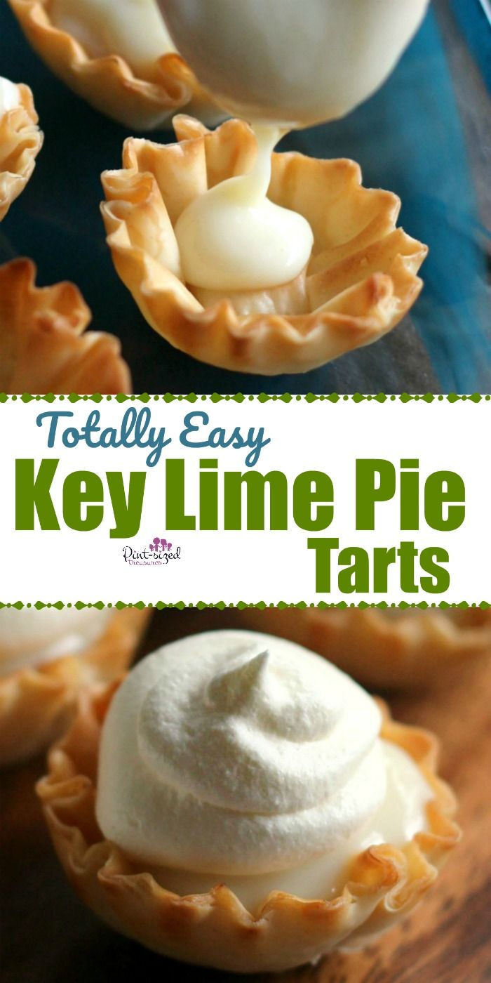 These totally easy, no bake key lime pie tarts are crazy yummy and perfect for a sweet tooth fix! Creamy, sweet, tangy and smooth, these key lime pie tarts are ready in just minutes --- no oven needed! #nobake #keylimepierecipe #easykeylimepie #lazyrecipes #nobakepie #nobakedessert #nobakerecipes #nobakekeylimepie #keylimepietarts #pietarts #easyrecipes