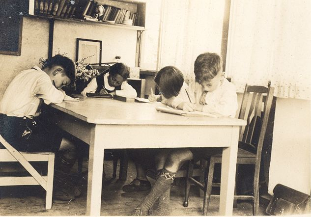 Early Danebank students working at their shared desk