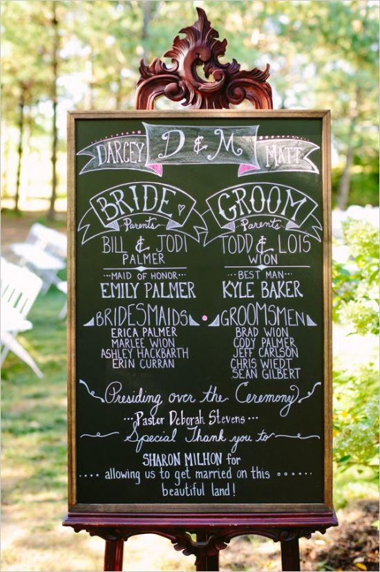 chalkboard wedding program that we absolutely love #diy #weddingprogram #weddingchicks http://www.weddingchicks.com/2014/02/20/outdoor-romance-wedding/