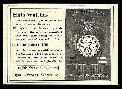 Elgin Watches 1898 Train Timekeeping AD Elgin National Watch Railroad Graphics