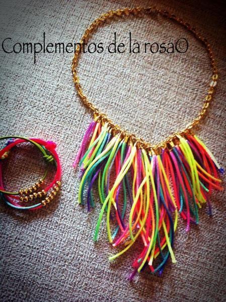 Collar y pulsera fluor - artesanum com