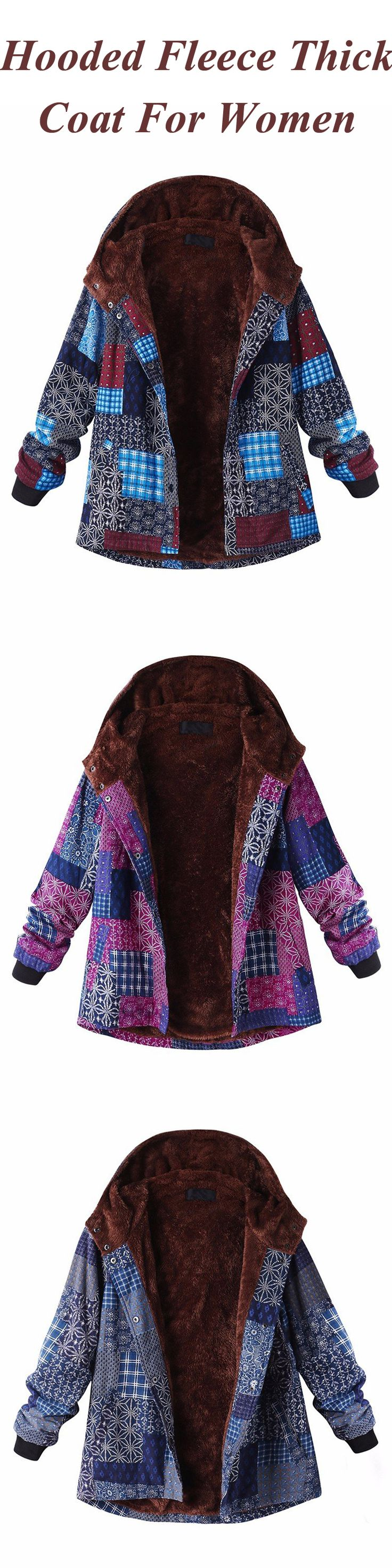 O-NEWE Casual Block Printing Hooded Fleece Thick Coat For Women
