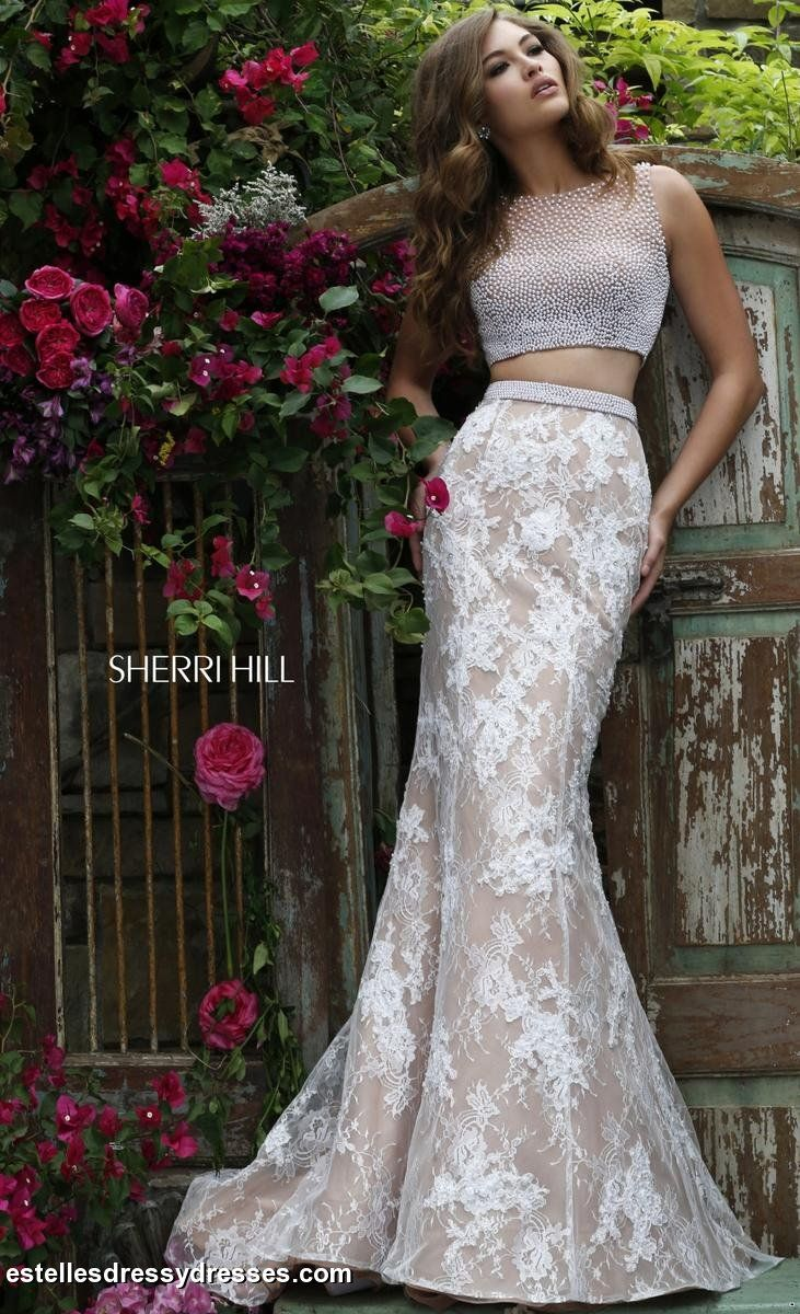 Sherri Hill- 11278 Ivory/Nude two piece gown with beaded top and lace mermaid style skirt.