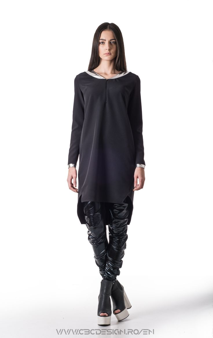 Description: Midi dress from black suiting fabric with long sleeves, collar and cuff from silver eco leather. Through styling, the dress can be transformed in different styles: office look with black stilettos or grunge with combat boots. The wearing options are unlimited when it comes to a LBD