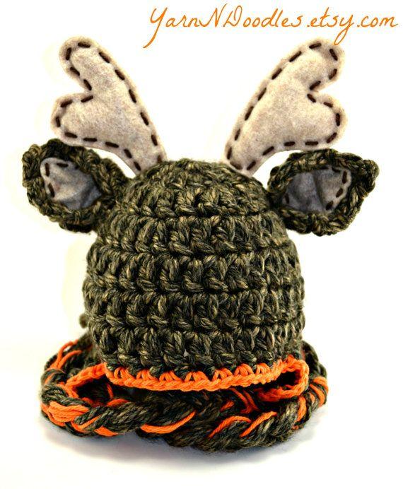 Hunter Deer Crocheted Baby Newborn Infant Photo Prop Photography Halloween Costume