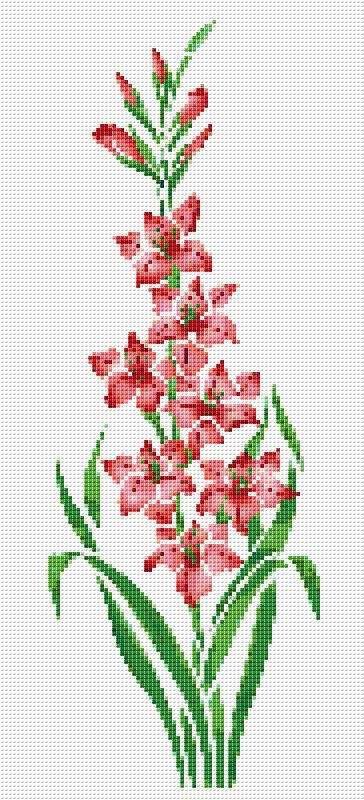Pink Day Lily Counted Cross Stitch Pattern Chart