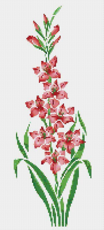 Pink Day Lily Counted Cross Stitch Pattern Chart