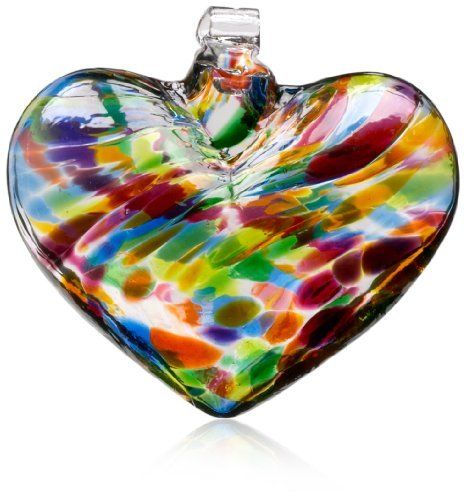 "Kitras 3-Inch/Multi Heart Witch Ball, Festive/Multi by Kitras Art Glass. $20.62. Recycled glass. Unique Gift. Can be used outdoors and indoors. Our hand-blown Hearts of Glass ornament allows you to display this colorful symbol of affection in a sun-filled window. ""This gift is filled with love, it comes straight from my heart. From the moment that you hang it up, we will never feel apart."""