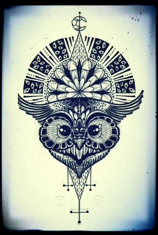 Geometric owl tattoo - photo#10