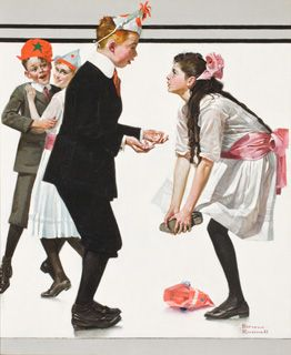 """Pardon Me (Children Dancing at a Party) The Saturday Evening Post, January 26, 1918 oil on canvas, 23 x 19 in. Collection of George Lucas   Pardon Me is a classic narrative of adolescent embarrassment. Apart from the clothing, the incident might well have taken place anywhere or any time. As Steven Spielberg remarked, """"It is a scene of innocent humor---something we've all done when we were younger. . . . Rockwell was extolling the virtues of simple values and simple moments."""""""