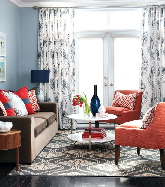 be. designs: Coral CrushDecor, Ideas, Curtains, Living Rooms, Chairs, Blue Wall, Livingroom, Colors Schemes, House