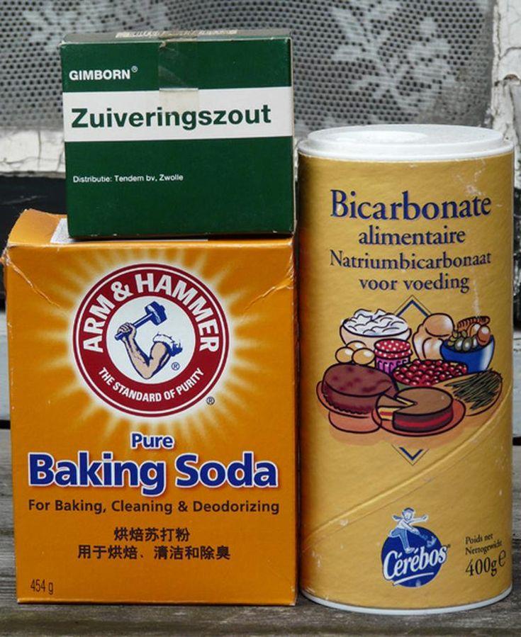 Foto: nederlandse uitleg over verschillende soorten soda (baking soda, bicarbonaat, zuiveringszout, epsomzout etc). Geplaatst door bbmum…