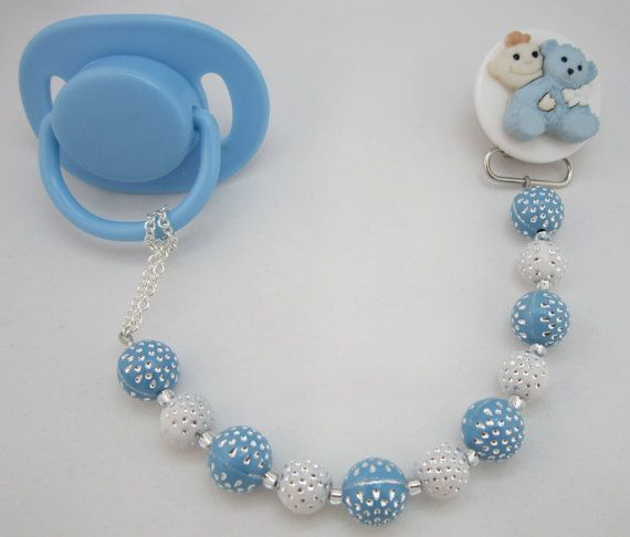 Baby Blue Teddy Bear Pacifier clip with blue and White Acrylic beads (CPBW) on Etsy, $14.99